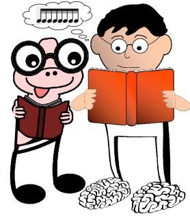 book-worm and shocked guy reading music-notes