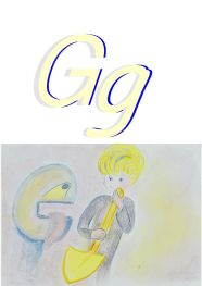 boy with showel, image for alphabet letter G