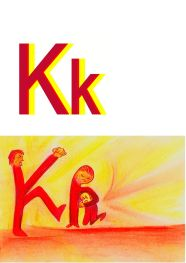 kickers kicking, image for alphabet letter K