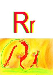 cartwheeling kids, image for alphabet letter R