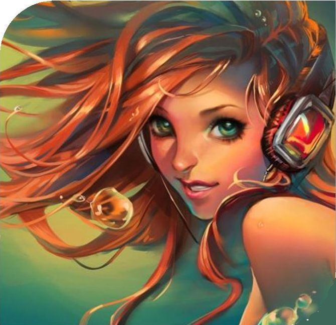 phantasy girl with headphones